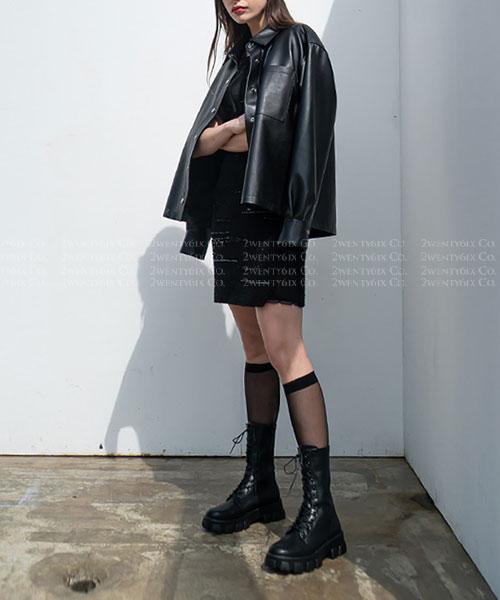 ★ 韓系 Ollie ★ YORK WALKER 時尚率性  粗曠厚底繫帶中筒靴 (三色)