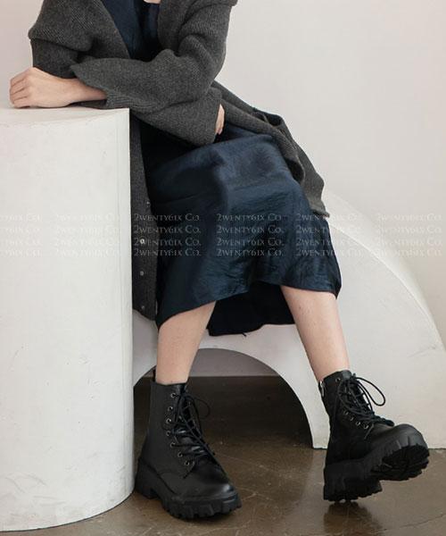 ★ 韓系 Ollie ★ ELY WALKER II時尚率性  粗曠厚底繫帶低筒靴 (三色)