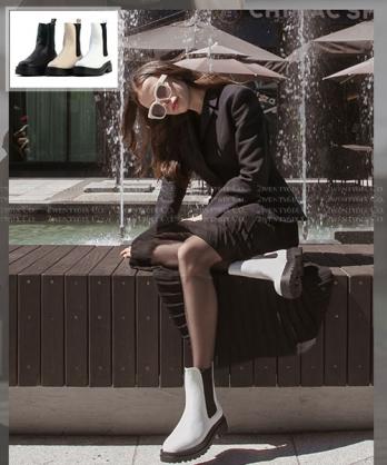 ★ 韓系 Ollie ★ POLAR HIGH 時尚率性 粗曠厚底鬆緊低筒靴 (三色)