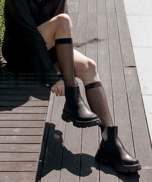 ★ 韓系 Ollie ★ POLAR MID 時尚率性  粗曠厚底鬆緊低筒靴