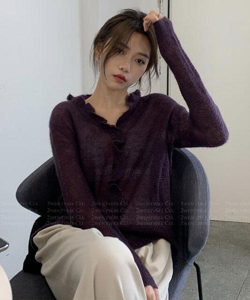 ★ 韓版 LEEDS KNIT ★ 時尚休閒 造型木耳邊 微透膚針織上衣 (三色)