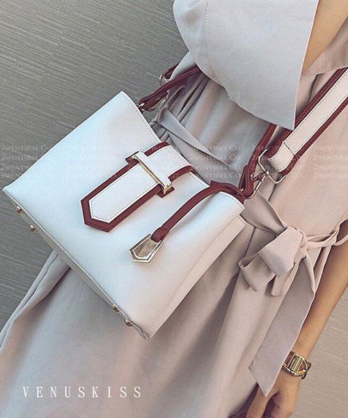 ★ 嚴選 VENUSKISS 品牌★ 時尚撞色 皮帶扣飾 手提斜揹包 (兩色)