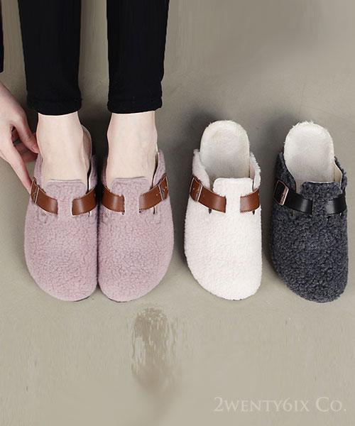 ★ 韓系 TEDDY TP (男女同款) ★ 泰迪捲毛絨  內鋪絨釦帶 麵包勃肯拖鞋(三色)