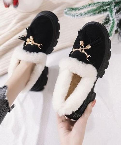 ★ 韓系 Lorenza Tassel ★ 時尚流蘇 全內鋪毛 造型厚底 樂福鞋(兩色)