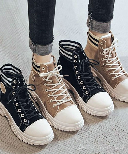★ 韓系Marseille ★ 假兩件 麂皮+條紋針織 繫帶高筒休閒鞋 (兩色)