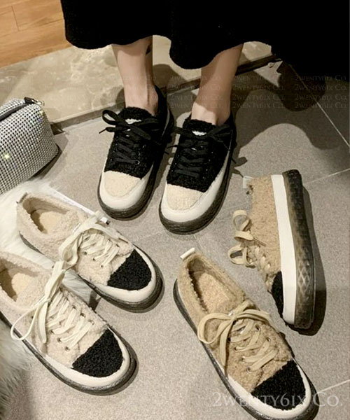 ★ 韓系 LYON CURLY ★可愛拼色泰迪捲毛絨  全內鋪毛 繫帶休閒鞋 (三色)