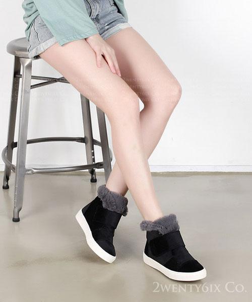 ★ 韓系 KISTA VELVET ★質感天鵝絨 全內鋪毛 魔術帶低筒靴 (兩色)