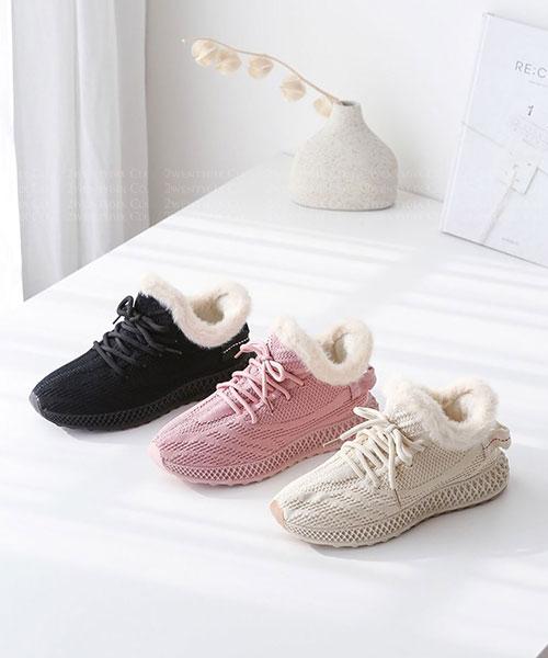 ★ 韓系 BRUNO SPORTS ★ 柔軟網布皮革 全鋪毛 繫帶運動休閒鞋 (三色)