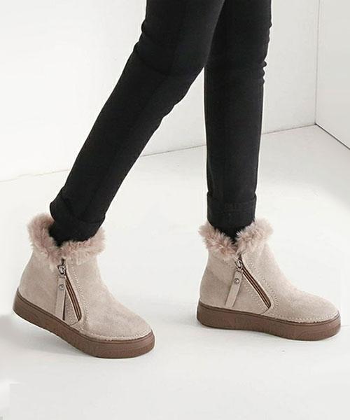 ★ 韓系 Shangri Zip ★ 柔美質感麂皮絨 側拉鍊 全內鋪絨短靴 (兩色)