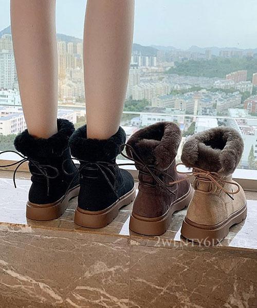 ★ 韓系 RUMXI BOOTS ★ 奢華麂皮絨 綿軟毛絨 後綁帶 登山厚底短靴