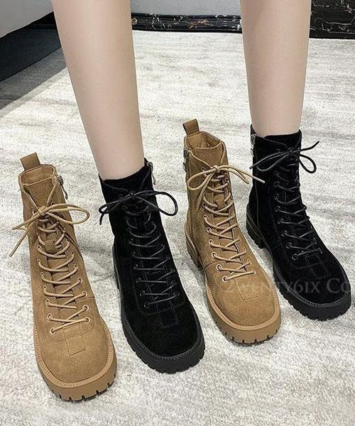 ★ 韓系 KARA SUEDE ★ 質感復古麂皮絨 繫帶 登山厚底中低筒靴 (兩色)