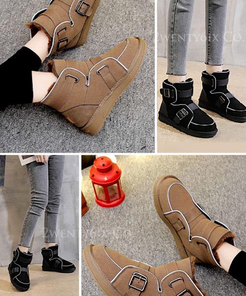 ★ 韓系 MUSTANG  TS ★個性麂皮絨 夜間反光條 雙釦帶 全內鋪毛平底短靴 (兩色)