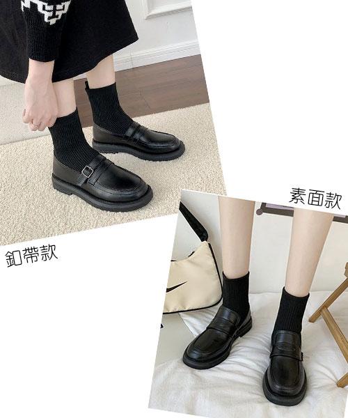 ★ 韓系 SK Loafer ★時尚復古 假兩件 彈性棉襪拼接皮革低跟樂福鞋 (兩款)