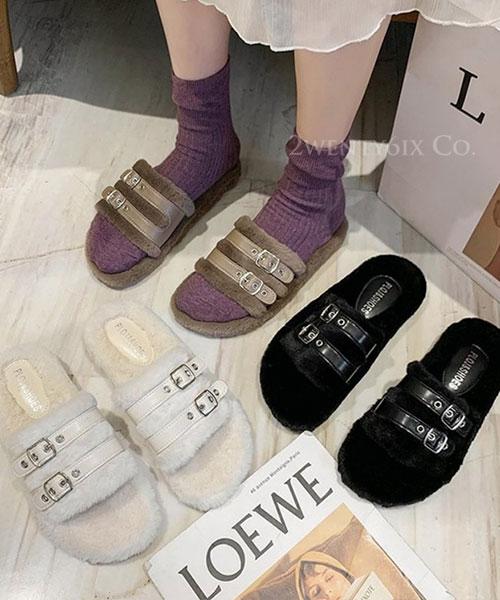★ 韓系 LHASA BOA ★ 質感皮革雙釦帶 柔軟短毛絨 平底拖鞋 (兩色)