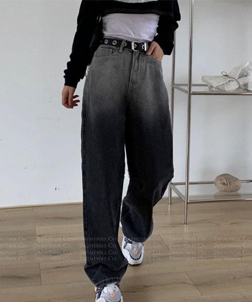 ★ 韓版 TIARA GD ★ 率性質感漸層黑寬鬆直筒牛仔長褲 (S/M/L)