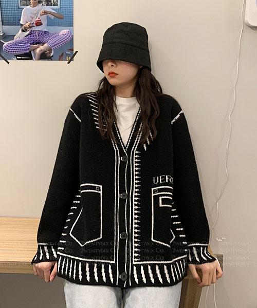 ★ 韓版 FUN PLAY ★  個性設計師款 2D質感V領開衫外套 (兩色)