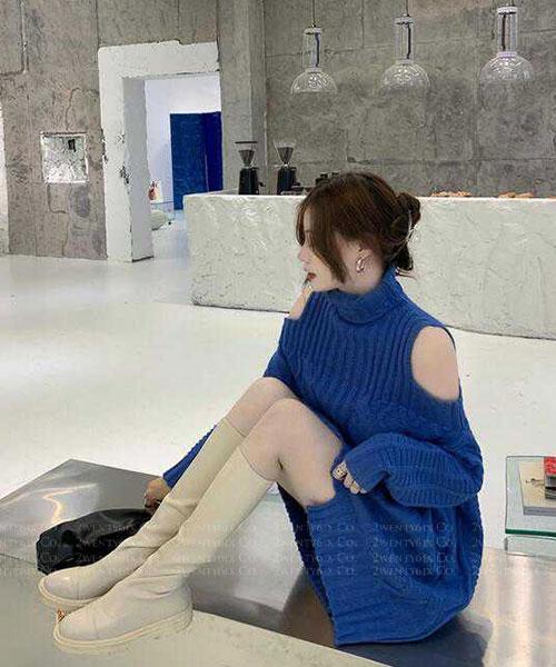 ★ 韓版 ZACH KNIT ★ 質感迷人 挖袖高領針織連衣裙 (三色)