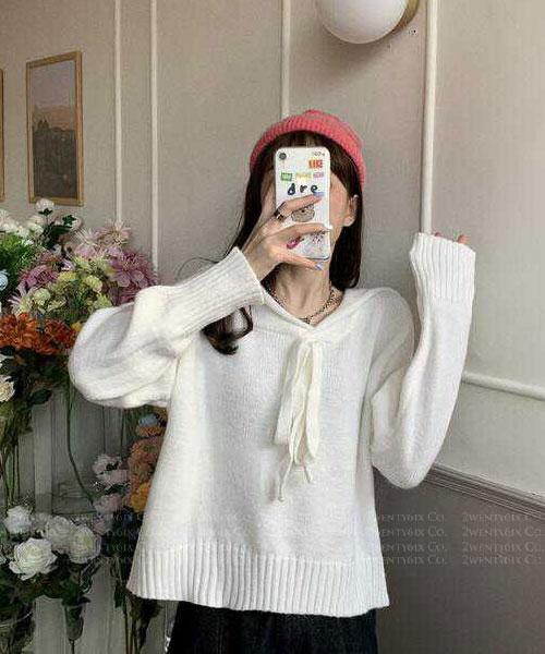 ★ 韓版 NAVY SWEET ★ 可愛柔美 海軍風翻領綁帶毛衣(兩色)