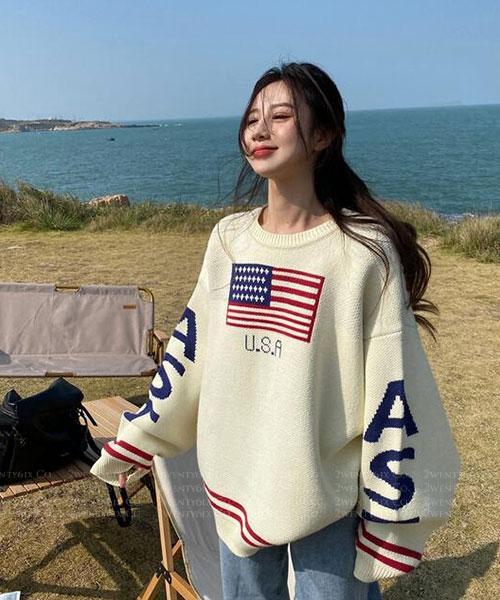★ 韓版 USA KNIT ★ 率性質感 撞色條紋個性寬袖針織上衣 (兩色)