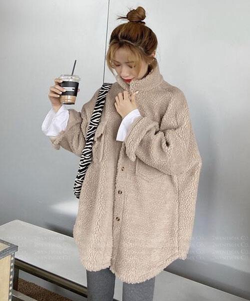 ★ 韓版 Teddy Henry ★ 休閒時尚 質感泰迪捲毛絨 寬鬆雙口袋翻領大外套 (兩色)