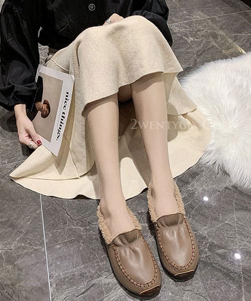 ★ 韓系 SUSY Loafer ★ 個性皮革 內鋪溫暖短毛絨 平底休閒鞋 (三色)