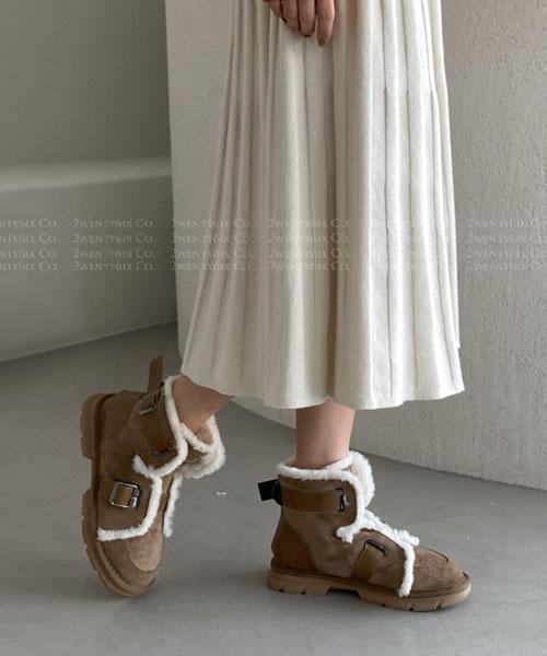 ★ 韓系 Bogota VT ★ 甜美麂皮絨皮革 雪花毛絨滾邊 雙釦帶 冬靴/短靴