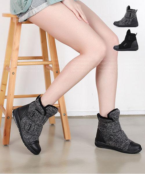 ★ 正韓 SUZZAN Velcro ★ 個性雪花絨 針織絨 雙魔術帶 內鋪絨短靴 (兩色)