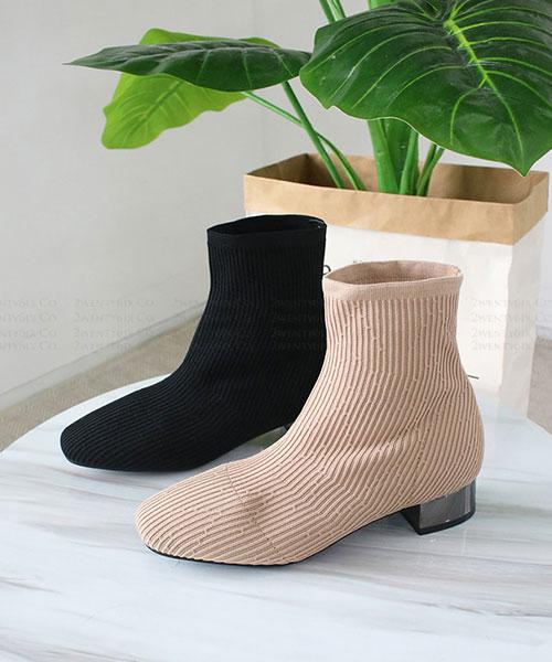 ★ 韓系 LE PAPIER MID 時尚冬季 金屬中跟 針織襪套短靴 (兩色)