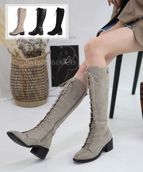 ★ 韓系 Vienna  Frost ★ 維也納冬氛。雪漾 質感皮革 內拉鍊 繫帶長靴 (三色)