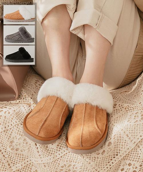 ★ 韓系 DG Snowflake ★ 冬季限定 雪花短毛絨 麂皮絨半拖鞋 (三色)