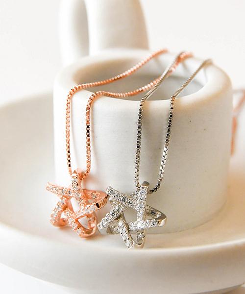 ★VENUSKISS★{925純銀}時尚個性 設計款 立體鏤空閃鑽 五角星項鍊