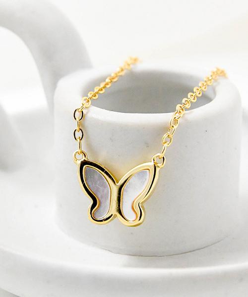 ★VENUSKISS★{925純銀}時尚氣質優雅母貝立體蝴蝶項鍊