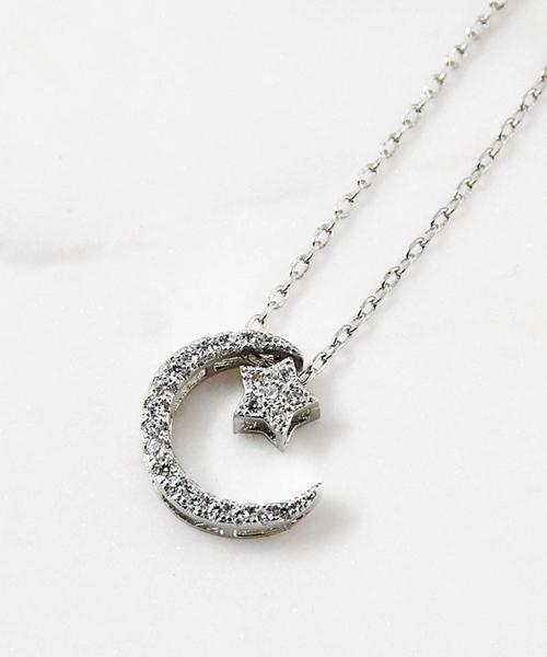 ★VENUSKISS★{925純銀} 時尚個性 弦月流星相連雙面配戴閃鑽項鍊