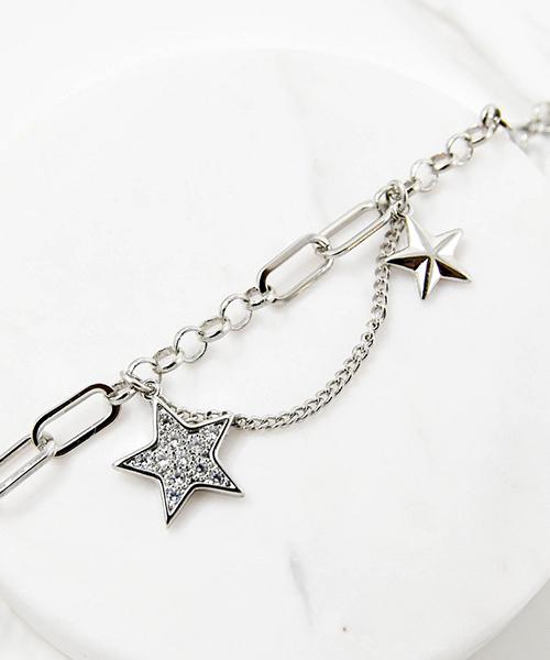★VENUSKISS★{925純銀} 時尚個性閃鑽 星星吊墜雙層手鍊