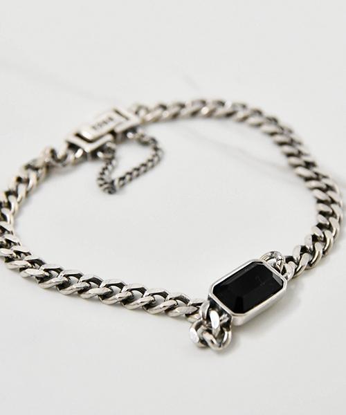 ★VENUSKISS★{925純銀} 泰銀復古設計款 黑寶石粗鏈條手鍊
