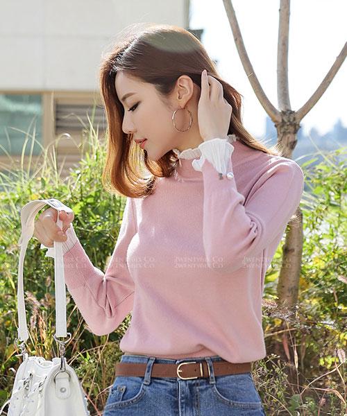 ★ 正韓 Banett Combi ★質感優雅 可愛假兩件 珍珠袖釦雪紡拼針織衫(四色