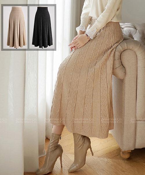 ★ 正韓 Stephanie Knit ★ 優雅棉柔珍珠光澤 鬆緊針織裙 (兩色)