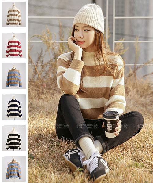★ 正韓 Bagal Knit ★ 冬季休閒 質感橫條紋針織上衣