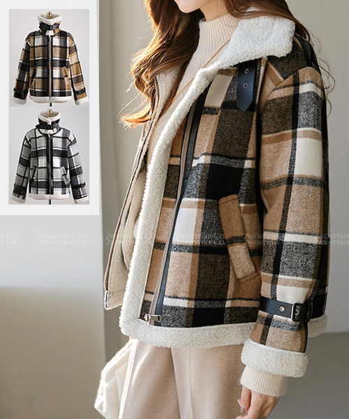 ★ 正韓 Mustang Wool ★時尚格紋 羊毛滾領瘋馬拉鍊夾克外套 (兩色)