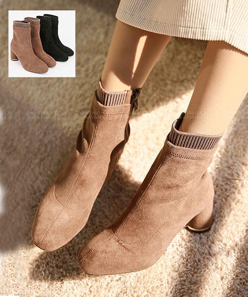 ★ 韓國代購 ROCKKO SUEDE 時尚個性 絨面皮革連襪 高跟短靴 (兩色)