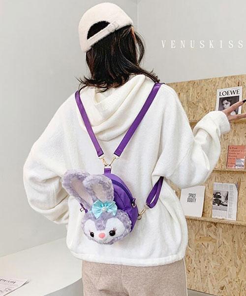 ★ 嚴選 VENUSKISS 品牌★ 甜美可愛 毛茸蝴蝶結小兔兔斜揹後揹包 (兩色)