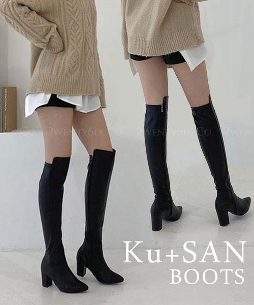 ★ 正韓製 Ku+SAN Boots ★ 時尚帥氣 質感皮革 尖頭粗跟 膝上長筒靴 (兩色)