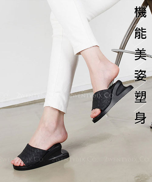 ★韓系 Charco-Slim ★ 編織皮革 機能美姿 加寬加厚辦公室塑身拖鞋 (四色)