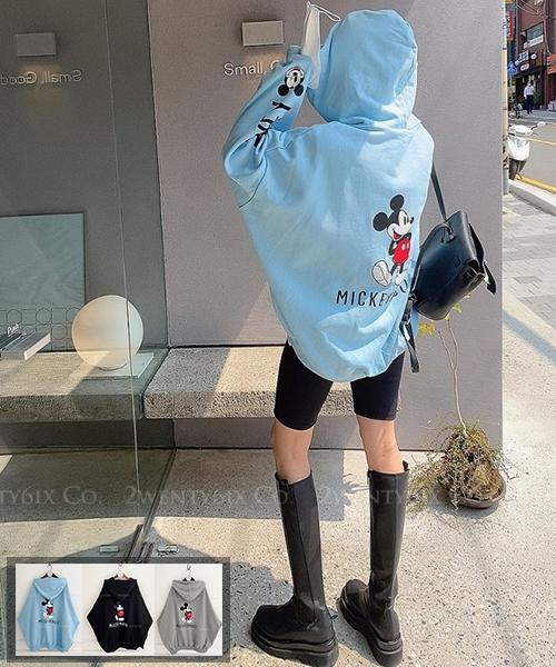★ 正韓 Mickey UD ★ 時尚休閒  帥氣印字雙袖 大米奇印花連帽外套(三色)