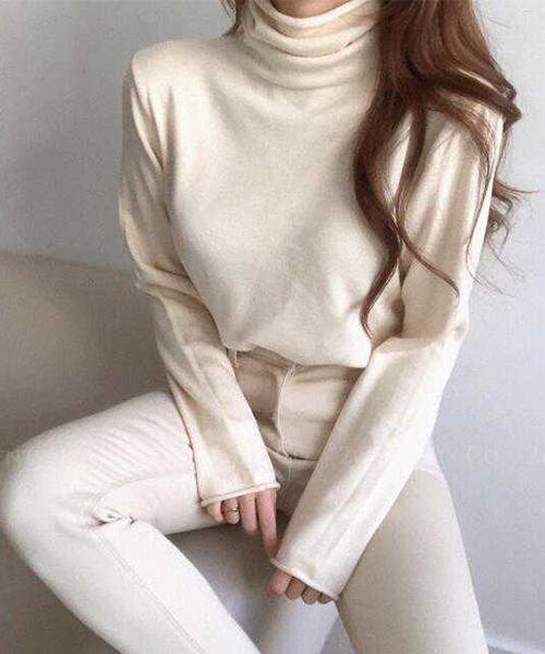 ★ 正韓 PURE KNIT ★ 質感純色 羊毛混棉 高領套頭內搭針織上衣 (三色)