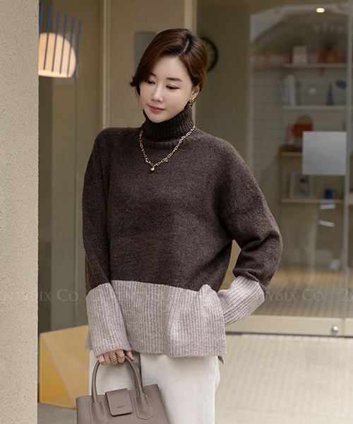 ★ 韓系 ShanNee Knit ★ 時尚質感拼色高領針織毛衣 (四色)