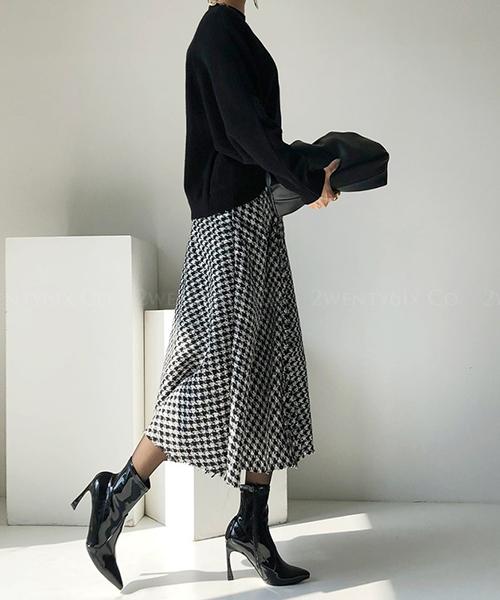 ★ 正韓 (限量) BusanSK Knit ★ 時尚質感粗花毛呢 千鳥格紋 流蘇下襬高腰長裙 (S/M)