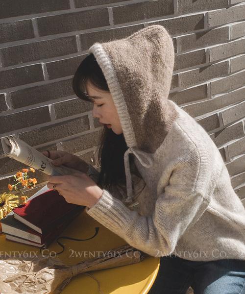 ★ 韓系 Sweety Hood ★ 時尚休閒質感 別緻撞色連帽針織上衣 (兩色)