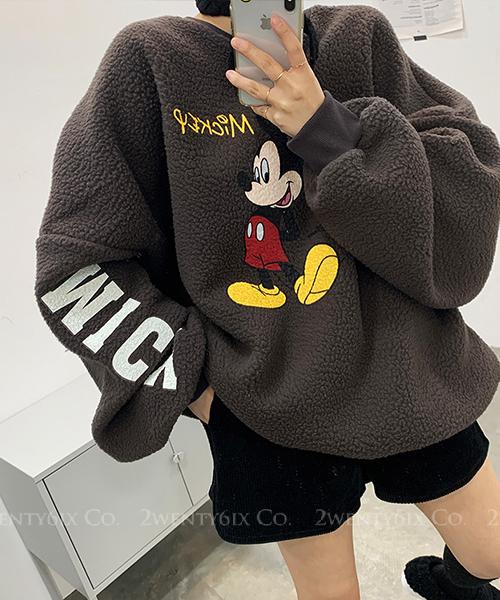 ★ 正韓 TeddyMickey ★甜美可愛鮮豔米奇 泰迪捲絨 寬鬆毛衣 (兩色)