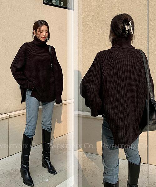 ★ 正韓 BOLA Wool ★ 休閒舒適 不規則下襬 羊毛混紡 針織套頭上衣 (三色)